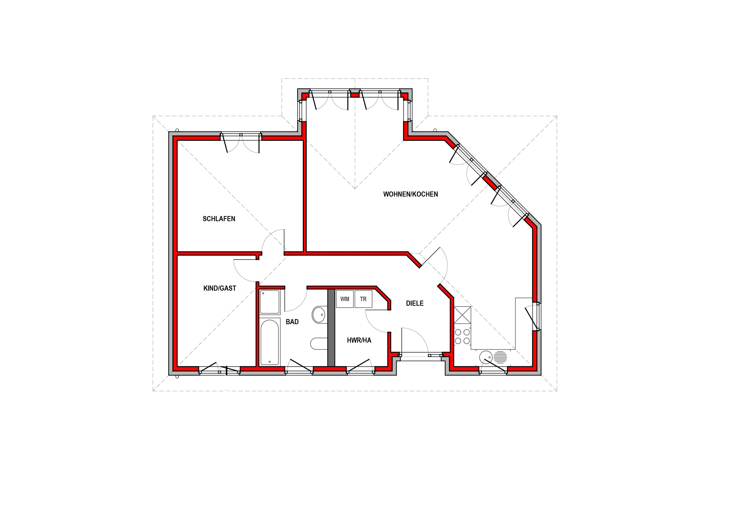 Erdgeschoss - Bungalow Konzept B 200