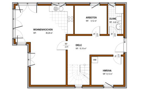 Erdgeschoss - Massivhaus Klassisch Konzept E 500