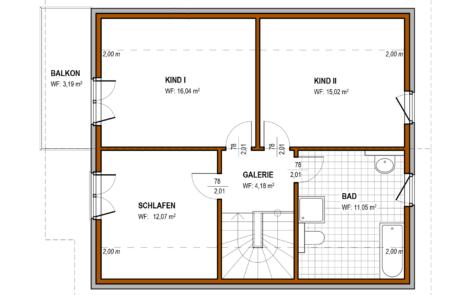 Obergeschoß - Massivhaus Klassisch Konzept E 500