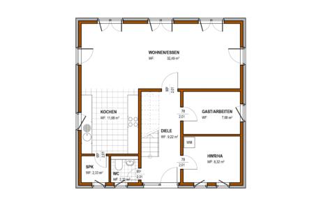 Erdgeschoss - BStadtvilla Konzept V 210