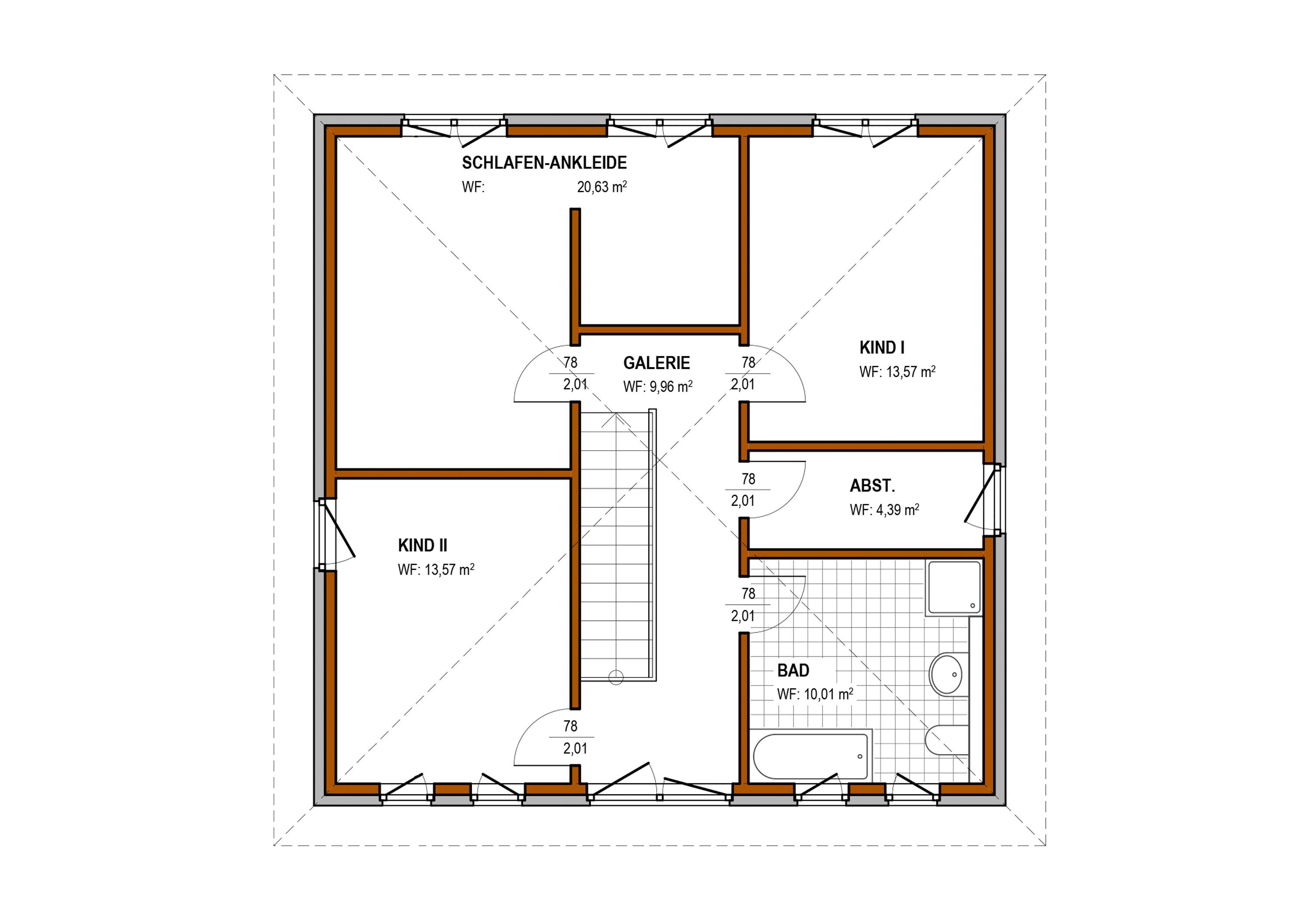 Obergeschoss - Stadtvilla Konzept V 210