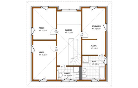 Obergeschoss - Stadtvilla Konzept V 220