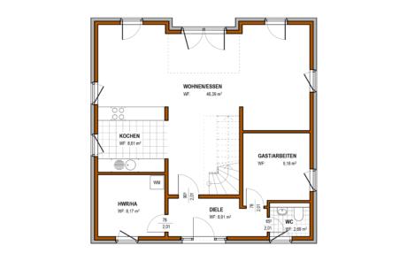 Erdgeschoss - Stadtvilla Konzept V 220