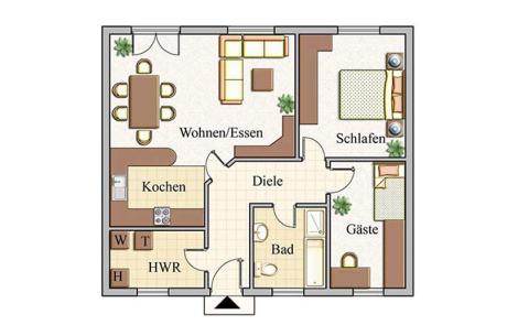 Erdgeschoss - Bungalow Konzept B 100
