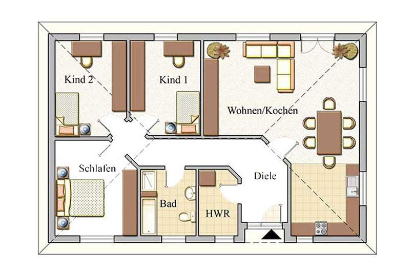 Erdgeschoss - Bungalow Konzept B 110