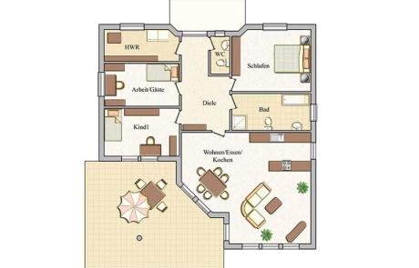 Grundriss - Bungalow Konzept B 330