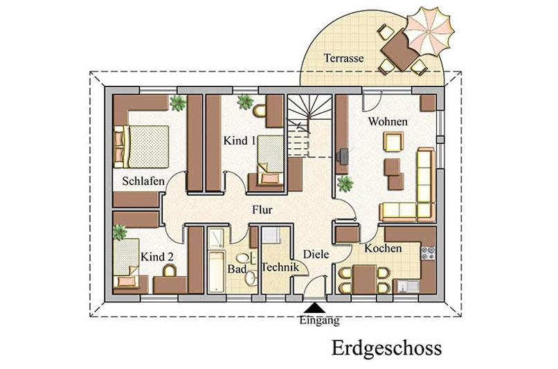 Erdgeschoss - Bungalow Konzept B 400
