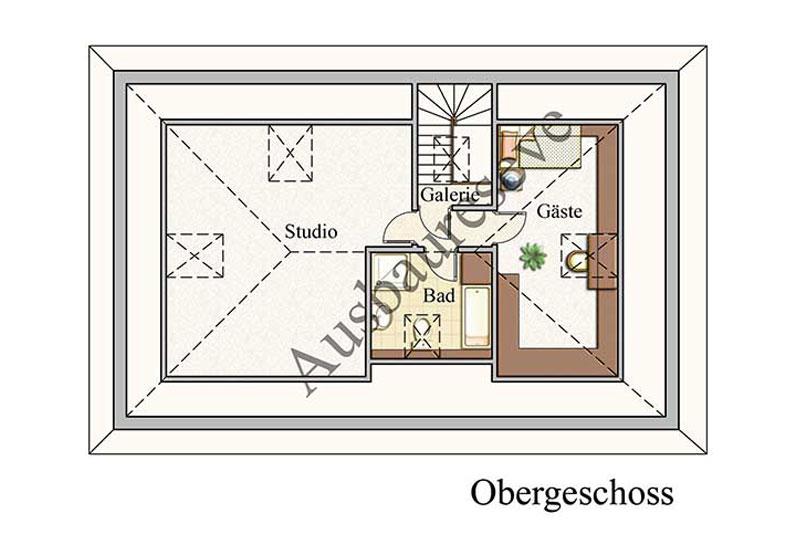 Obergeschoss - Bungalow Konzept B 400