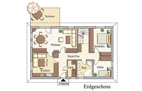 Erdgeschoss - Bungalow Konzept B 410