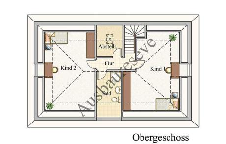 Obergeschoss - Bungalow Konzept B 410