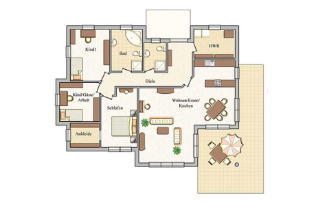 Erdgeschoss - Bungalow Konzept B 600