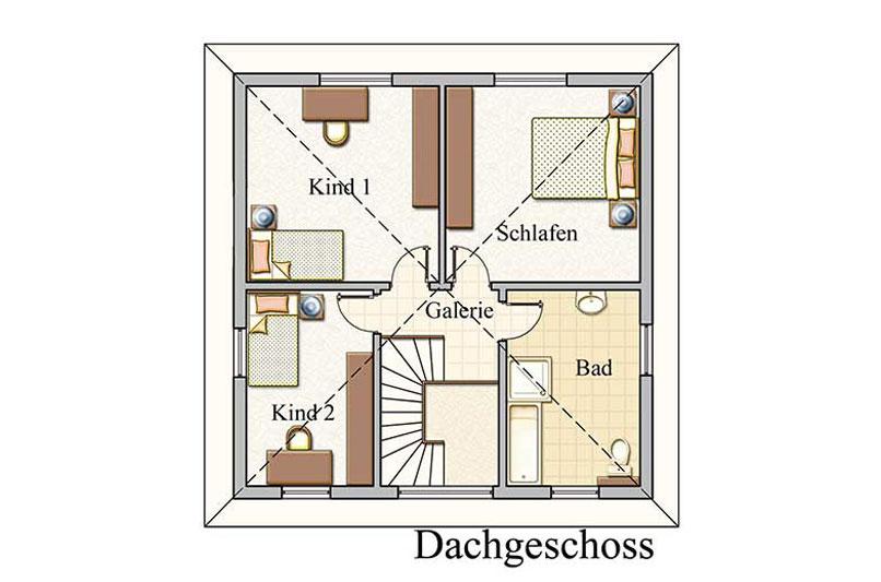 Obergeschoss - Stadtvilla Konzept V 100