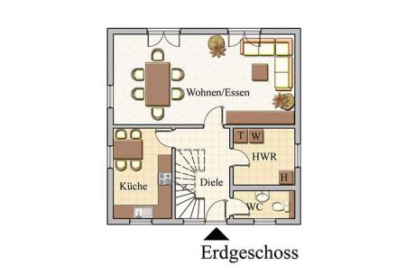 Erdgeschoss - Stadtvilla Konzept V 100