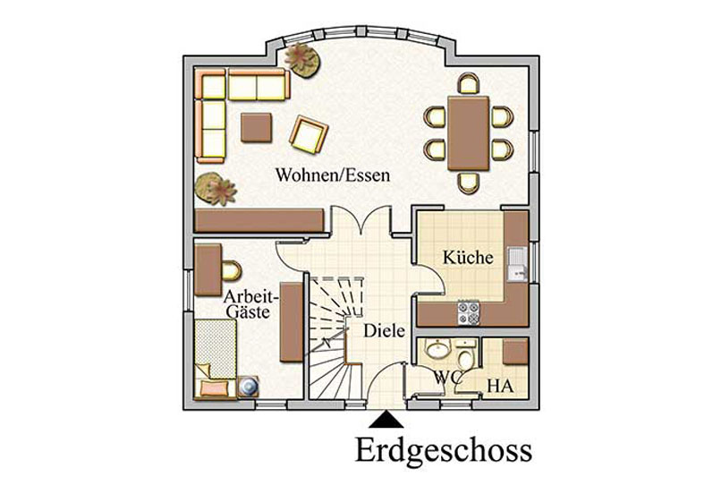 Erdgeschoss - Stadtvilla – Konzept V 110