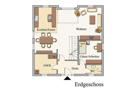Erdgeschoss - Stadtvilla Konzept V 200