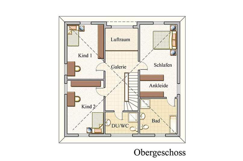 Obergeschoss - Stadtvilla Konzept V 200