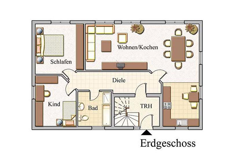 Erdgeschoss - Zweifamilienhaus Konzept Z 100